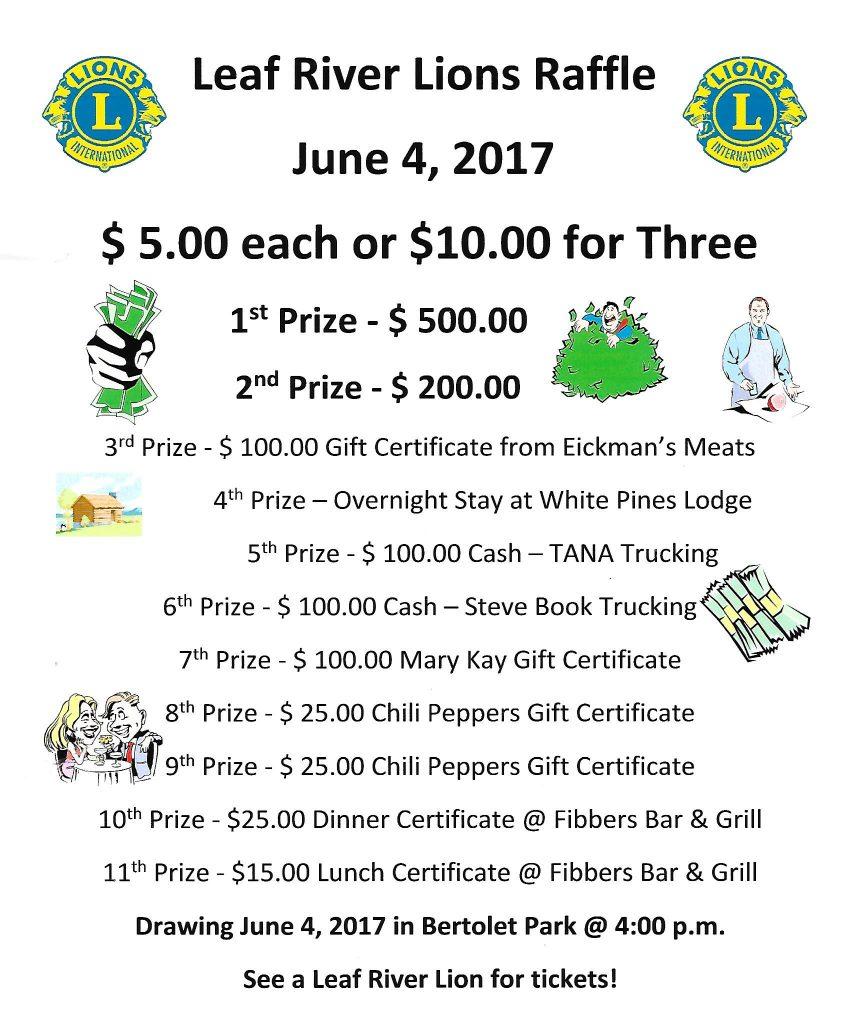 2017 Raffle Prizes