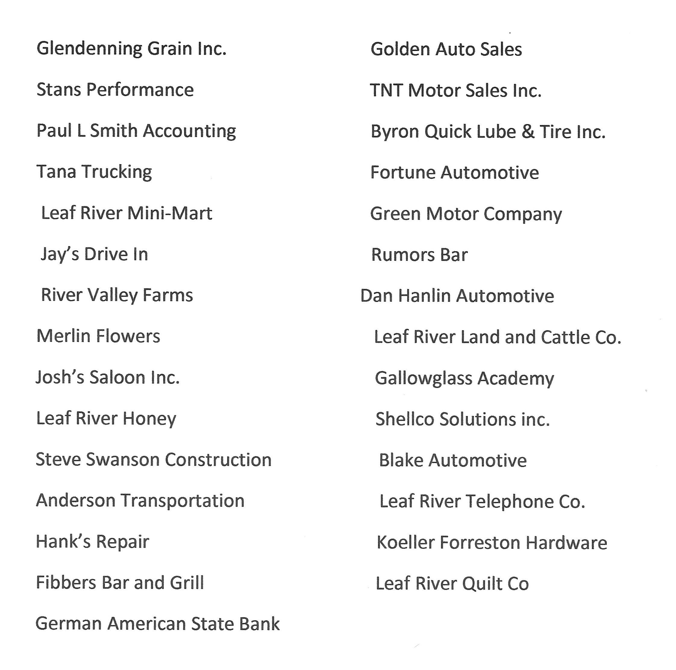 2018 Sponsor List