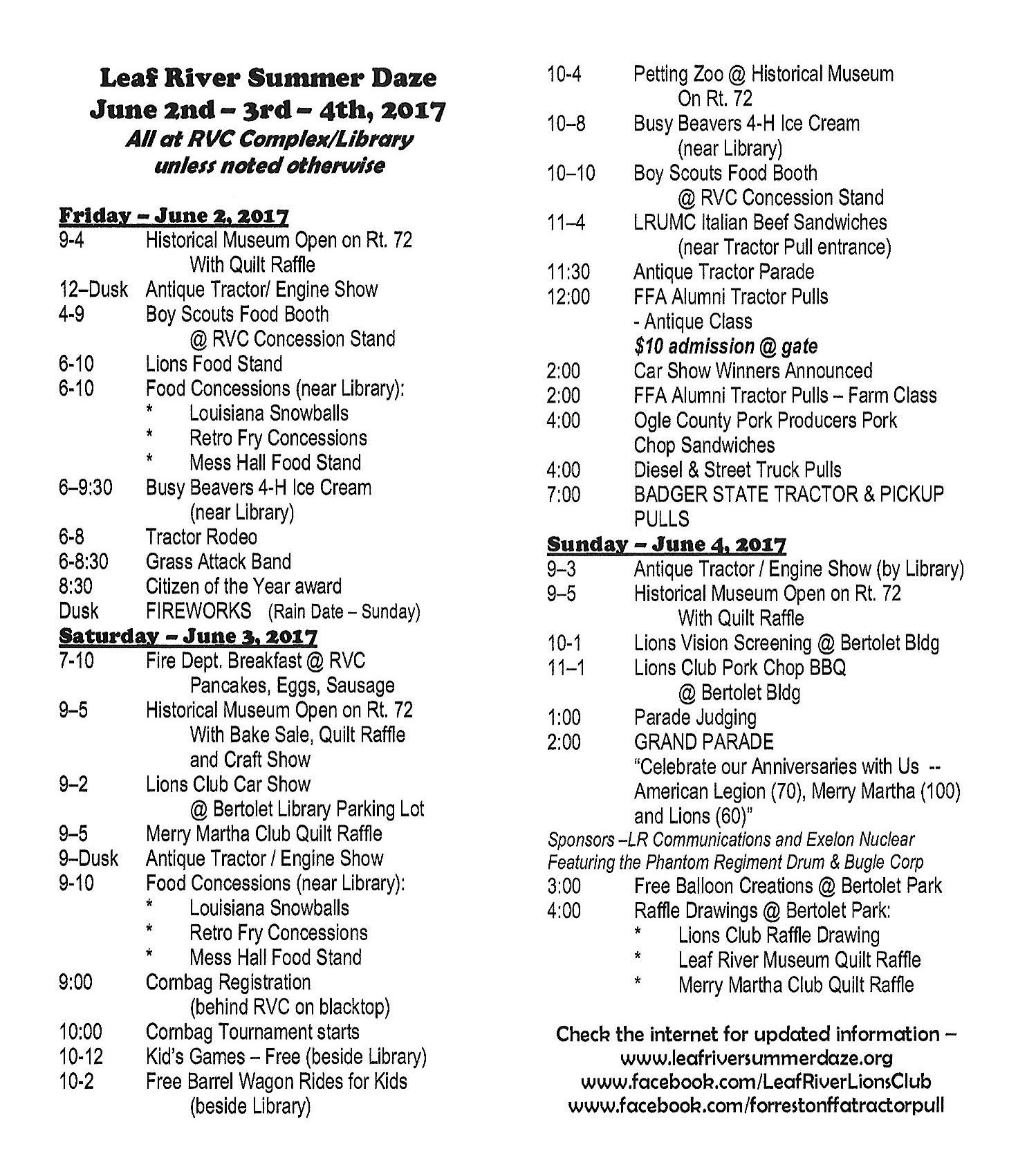 2017 Schedule website