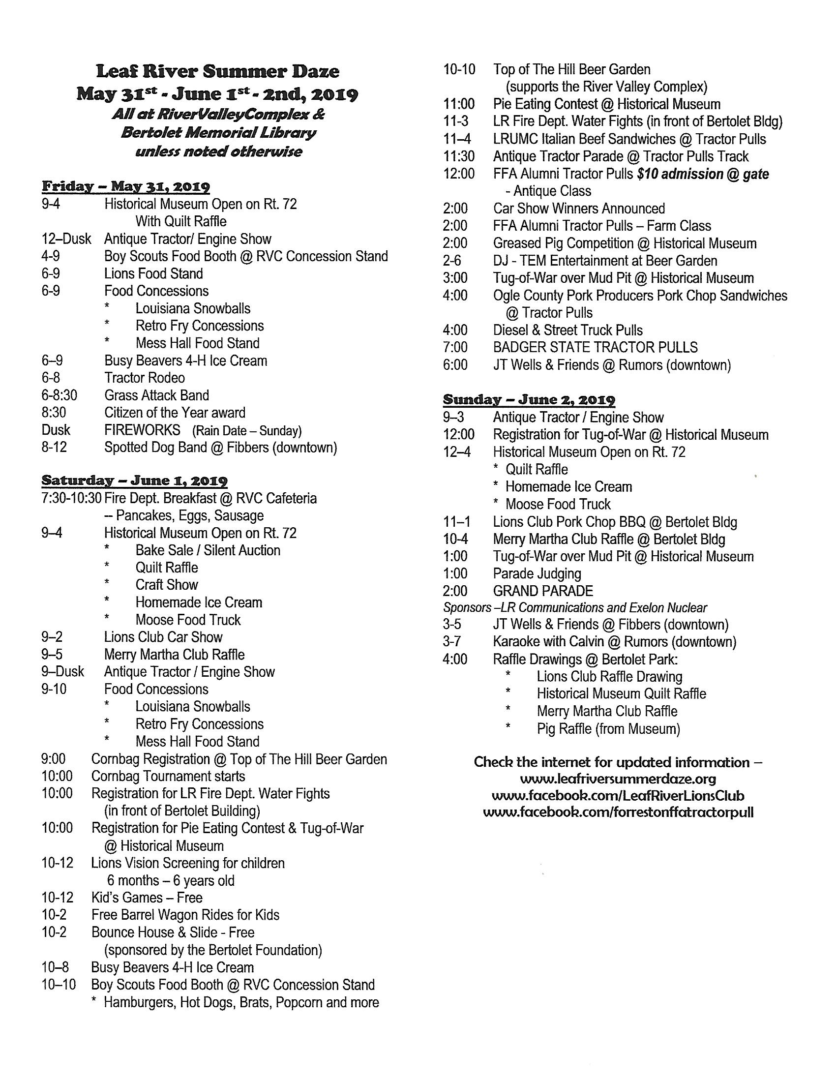 2019 Schedule Final