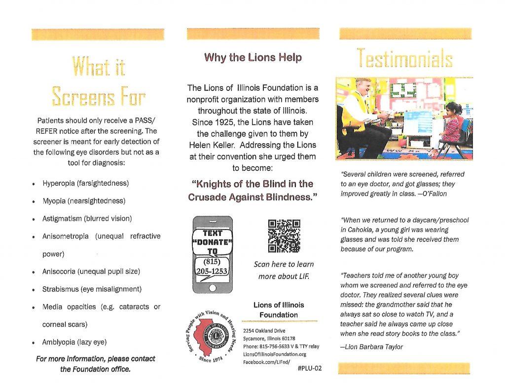 Lions Vision Screening Webpage 2
