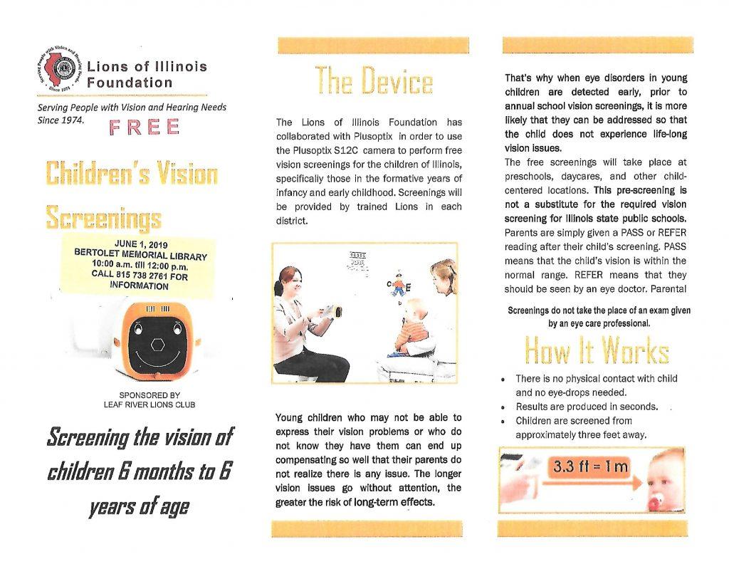 Lions Vision Screening webpage 1